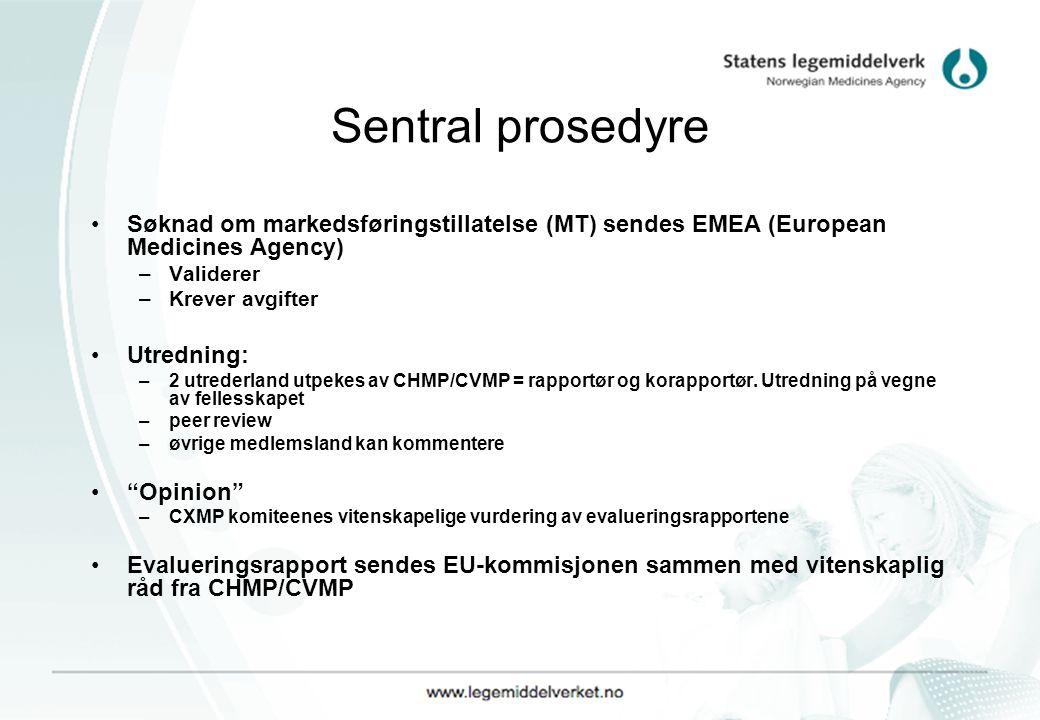 Sentral prosedyre Søknad om markedsføringstillatelse (MT) sendes EMEA (European Medicines Agency) –Validerer –Krever avgifter Utredning: –2 utrederland utpekes av CHMP/CVMP = rapportør og korapportør.