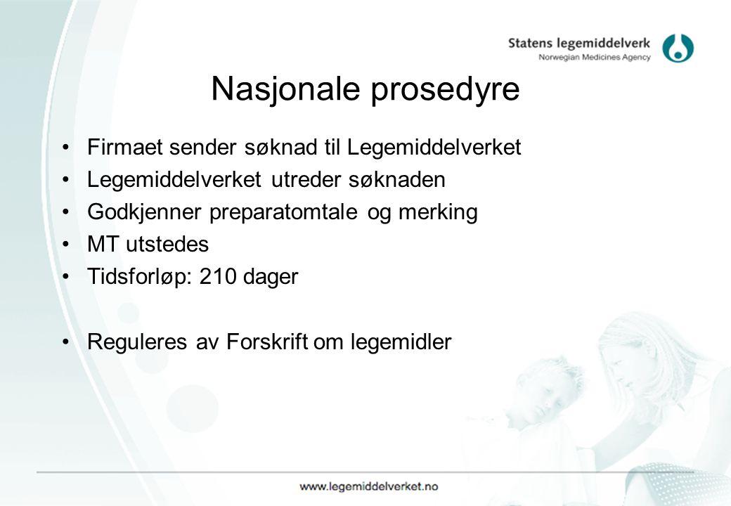 Nasjonale prosedyre Firmaet sender søknad til Legemiddelverket Legemiddelverket utreder søknaden Godkjenner preparatomtale og merking MT utstedes Tids