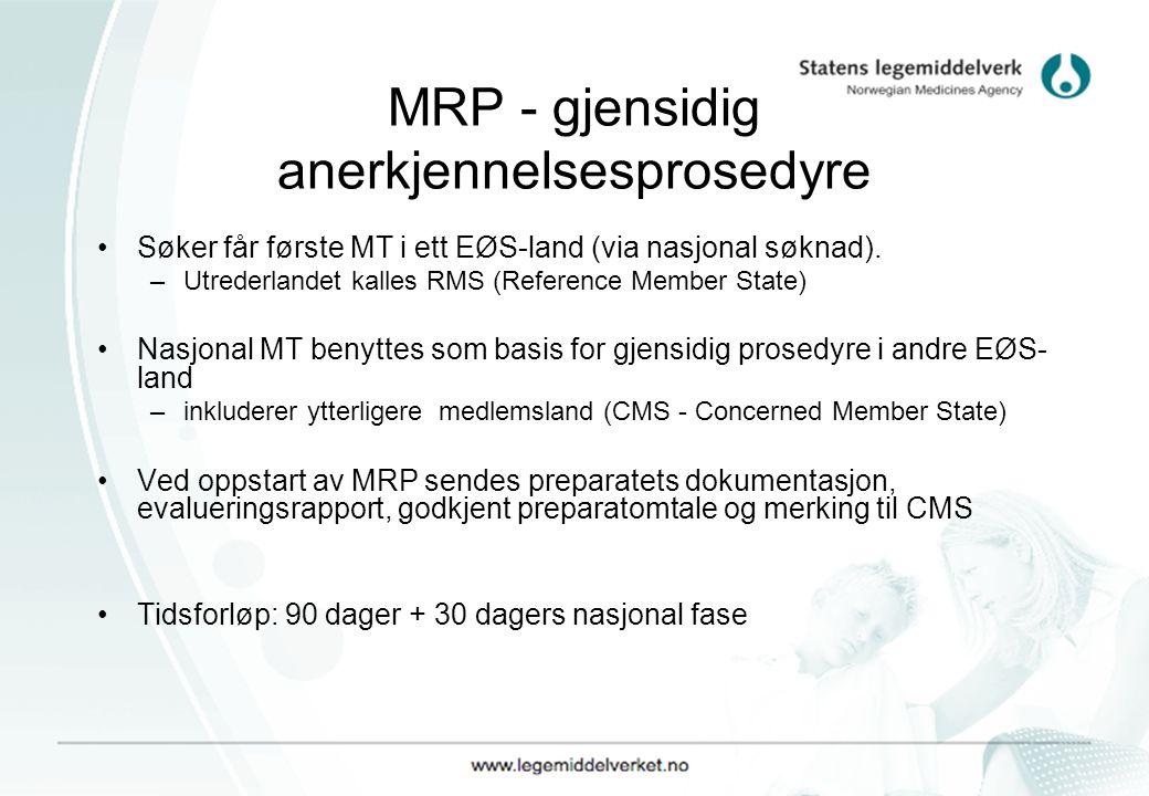 MRP - gjensidig anerkjennelsesprosedyre Søker får første MT i ett EØS-land (via nasjonal søknad). –Utrederlandet kalles RMS (Reference Member State) N