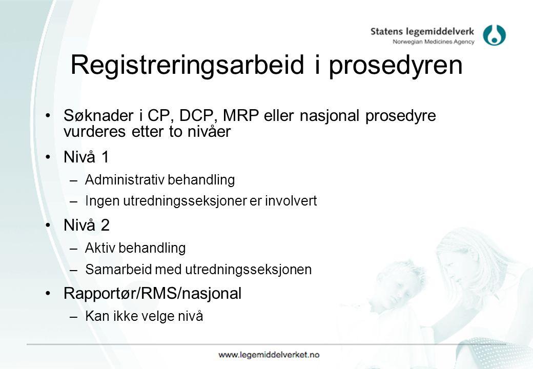 Registreringsarbeid i prosedyren Søknader i CP, DCP, MRP eller nasjonal prosedyre vurderes etter to nivåer Nivå 1 –Administrativ behandling –Ingen utredningsseksjoner er involvert Nivå 2 –Aktiv behandling –Samarbeid med utredningsseksjonen Rapportør/RMS/nasjonal –Kan ikke velge nivå