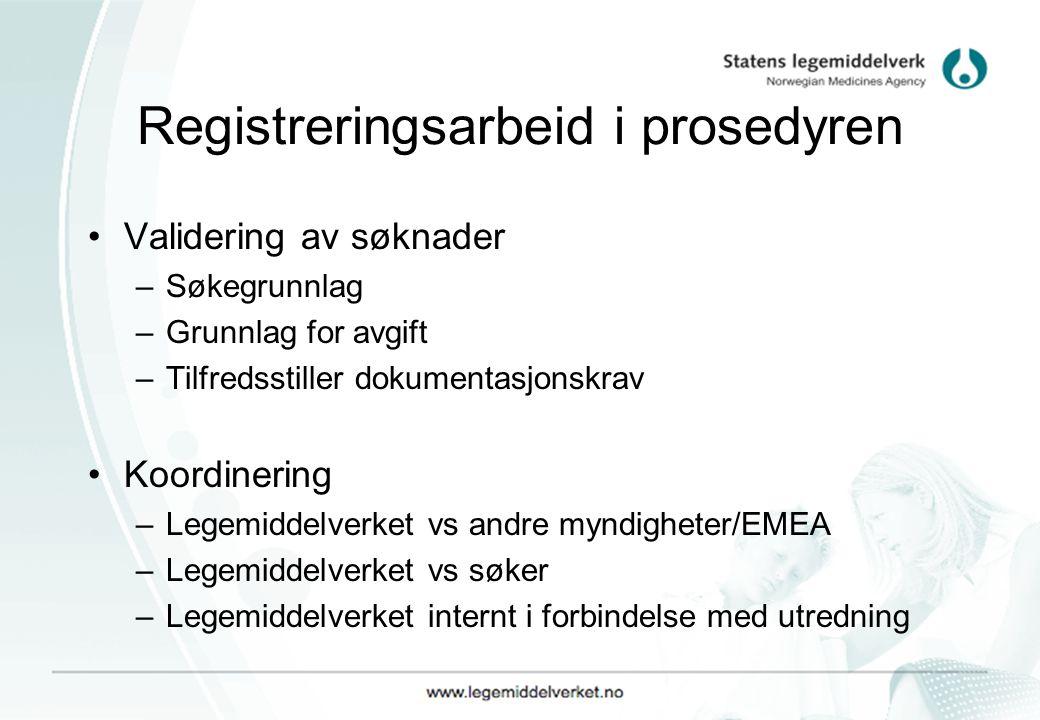 Registreringsarbeid i prosedyren Validering av søknader –Søkegrunnlag –Grunnlag for avgift –Tilfredsstiller dokumentasjonskrav Koordinering –Legemidde