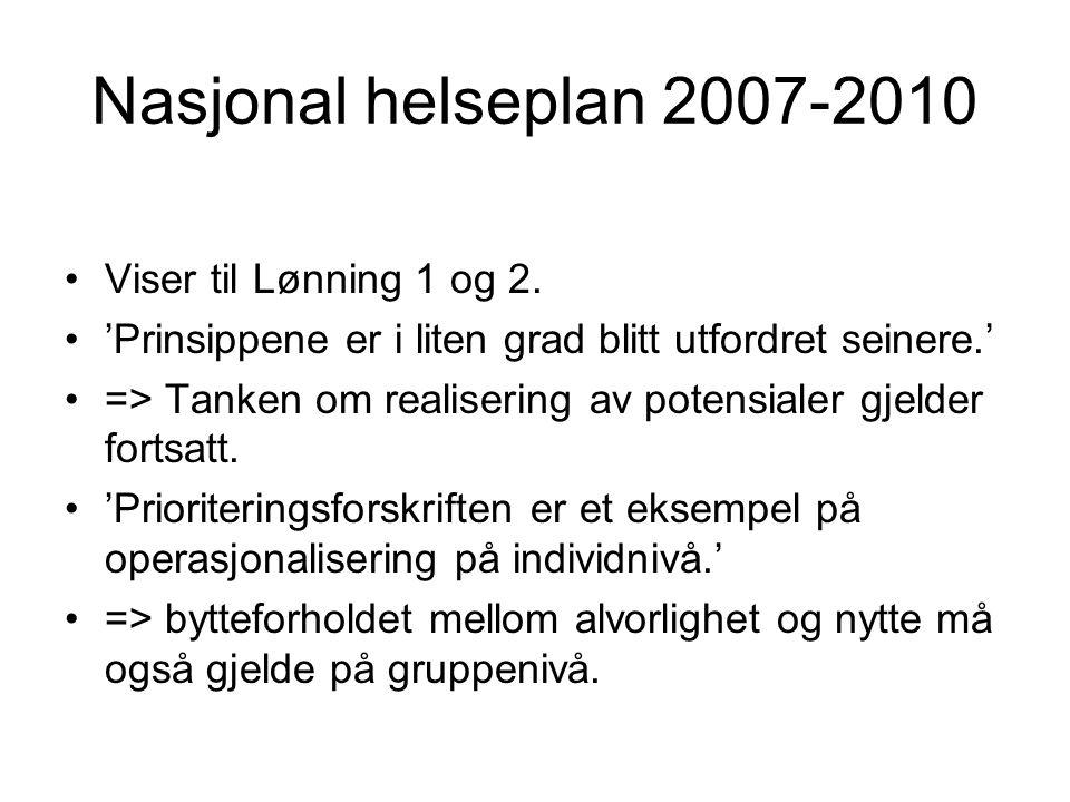 Nasjonal helseplan 2007-2010 Viser til Lønning 1 og 2. 'Prinsippene er i liten grad blitt utfordret seinere.' => Tanken om realisering av potensialer