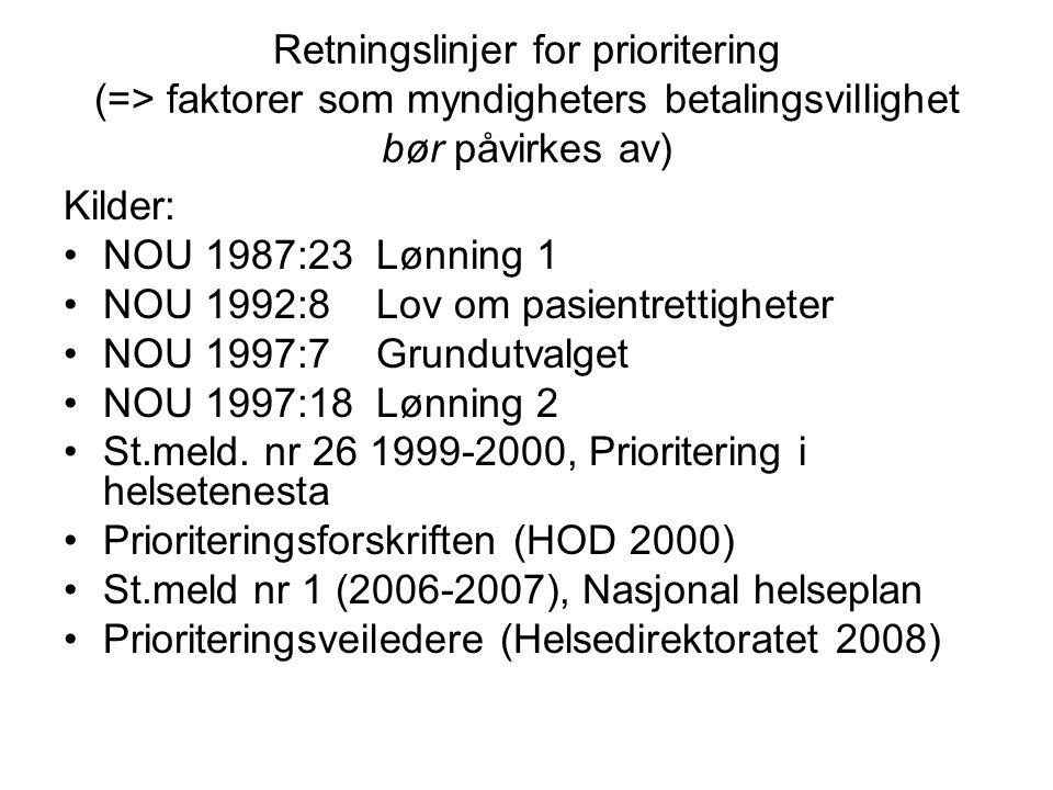 Retningslinjer for prioritering (=> faktorer som myndigheters betalingsvillighet bør påvirkes av) Kilder: NOU 1987:23 Lønning 1 NOU 1992:8 Lov om pasi