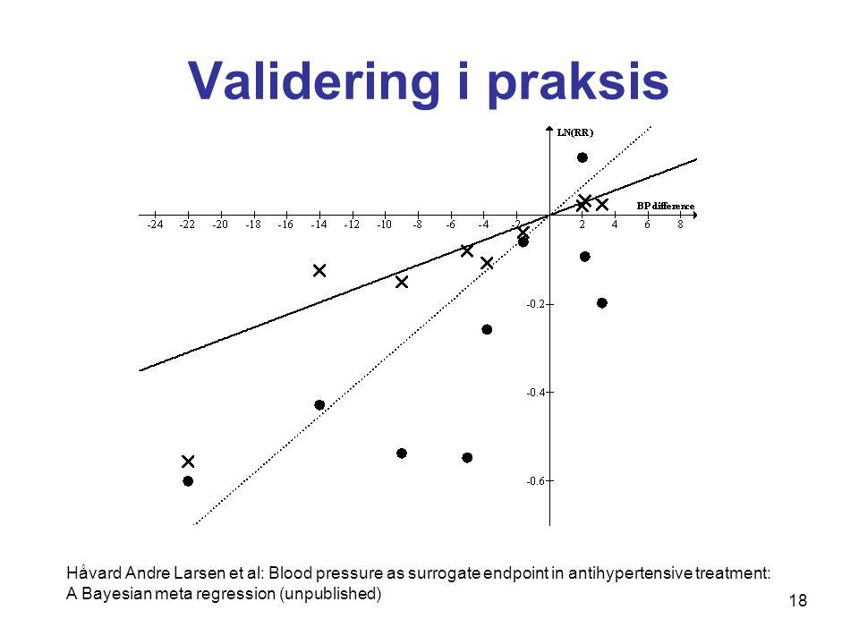 18 Validering i praksis Håvard Andre Larsen et al: Blood pressure as surrogate endpoint in antihypertensive treatment: A Bayesian meta regression (unpublished)