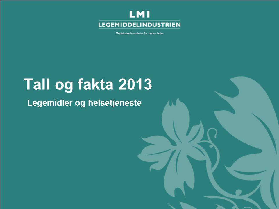 Tall og fakta 2013– Legemidler og helsetjeneste Tall og fakta 2013 Legemidler og helsetjeneste