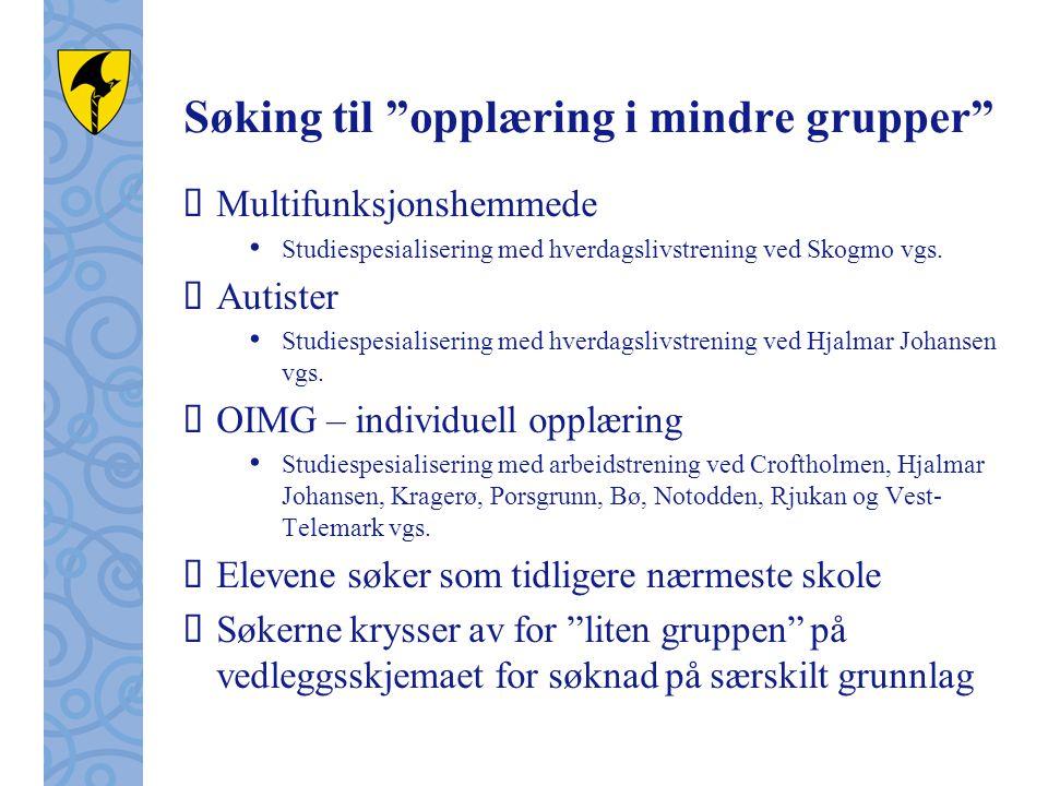 """Søking til """"opplæring i mindre grupper""""  Multifunksjonshemmede Studiespesialisering med hverdagslivstrening ved Skogmo vgs.  Autister Studiespesiali"""