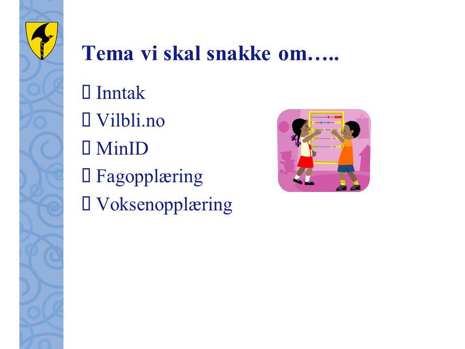 Tema vi skal snakke om…..  Inntak  Vilbli.no  MinID  Fagopplæring  Voksenopplæring
