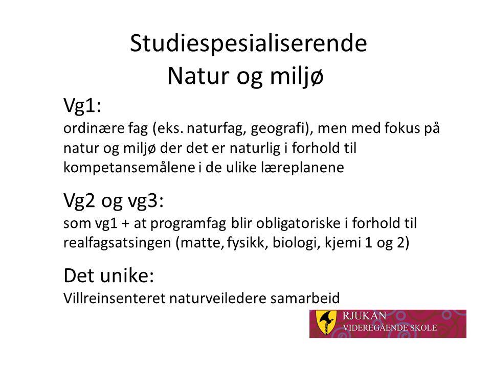 Studiespesialiserende Natur og miljø Vg1: ordinære fag (eks.