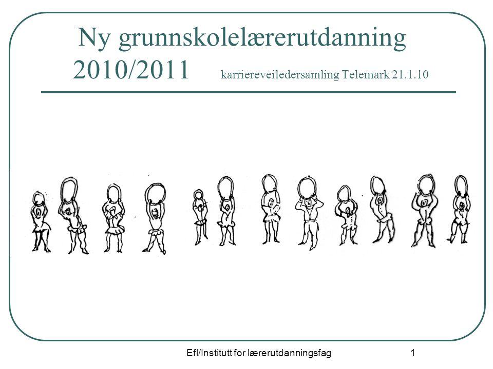 Efl/Institutt for lærerutdanningsfag 1 Ny grunnskolelærerutdanning 2010/2011 karriereveiledersamling Telemark 21.1.10