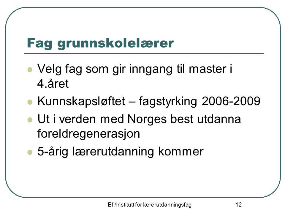Efl/Institutt for lærerutdanningsfag 12 Fag grunnskolelærer Velg fag som gir inngang til master i 4.året Kunnskapsløftet – fagstyrking 2006-2009 Ut i