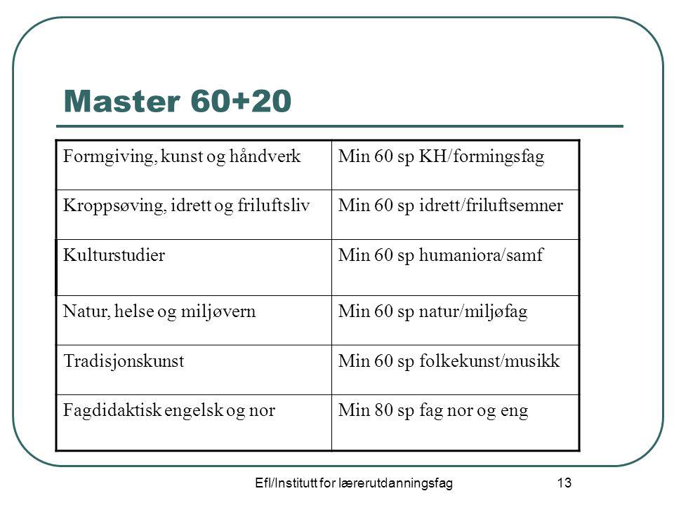 Efl/Institutt for lærerutdanningsfag 13 Master 60+20 Formgiving, kunst og håndverkMin 60 sp KH/formingsfag Kroppsøving, idrett og friluftslivMin 60 sp