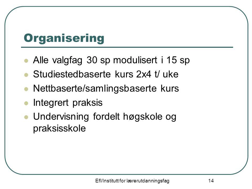 Efl/Institutt for lærerutdanningsfag 14 Organisering Alle valgfag 30 sp modulisert i 15 sp Studiestedbaserte kurs 2x4 t/ uke Nettbaserte/samlingsbaser