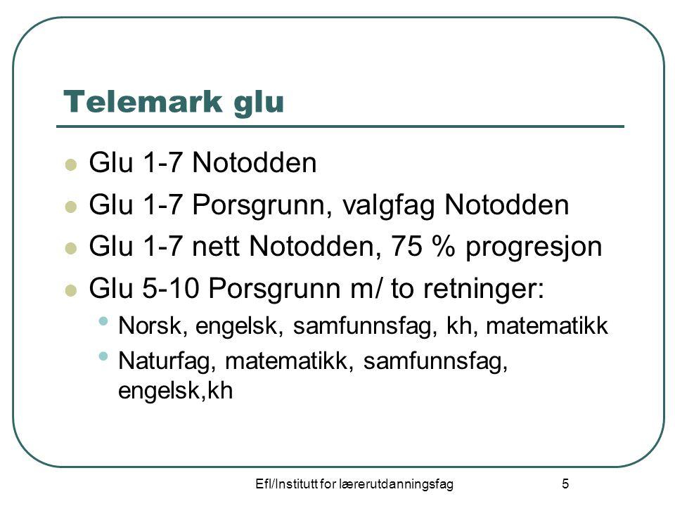 Efl/Institutt for lærerutdanningsfag 5 Telemark glu Glu 1-7 Notodden Glu 1-7 Porsgrunn, valgfag Notodden Glu 1-7 nett Notodden, 75 % progresjon Glu 5-