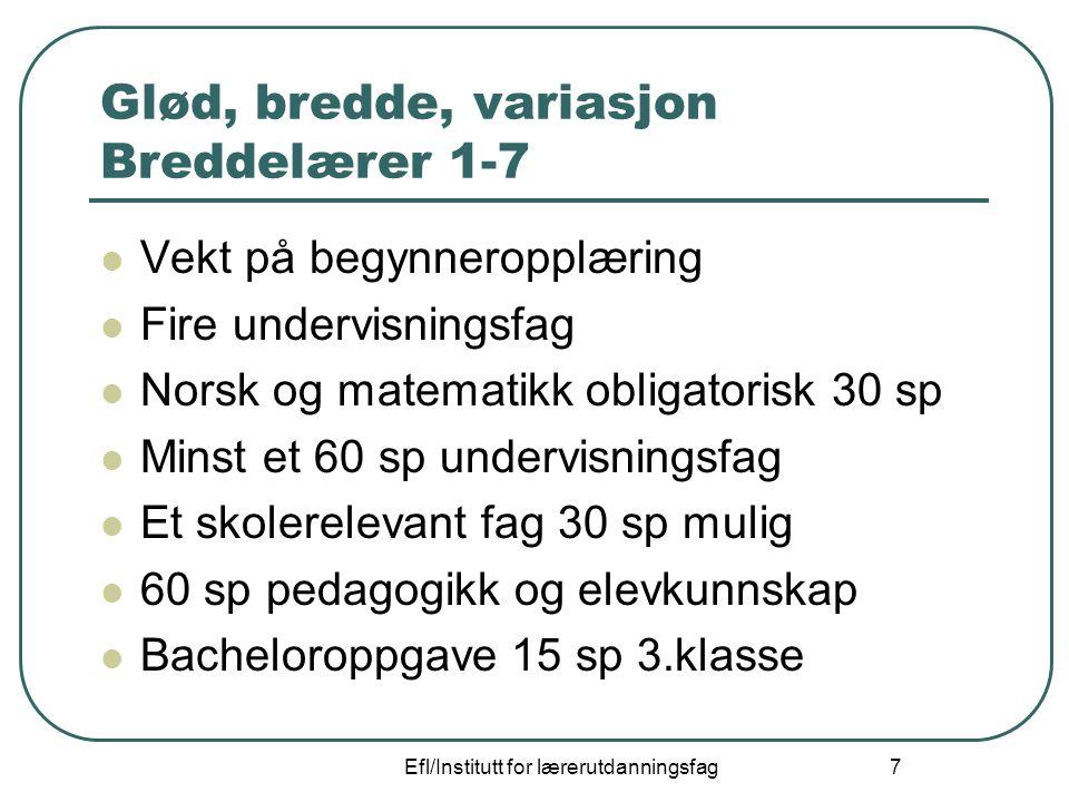 Efl/Institutt for lærerutdanningsfag 7 Glød, bredde, variasjon Breddelærer 1-7 Vekt på begynneropplæring Fire undervisningsfag Norsk og matematikk obl