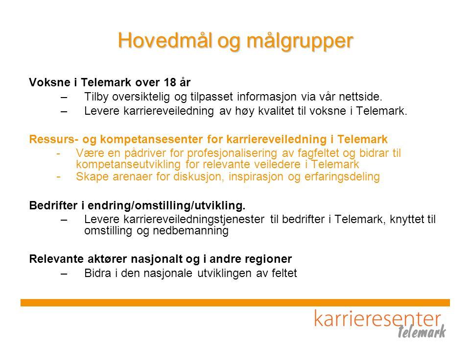 Hovedmål og målgrupper Voksne i Telemark over 18 år –Tilby oversiktelig og tilpasset informasjon via vår nettside.