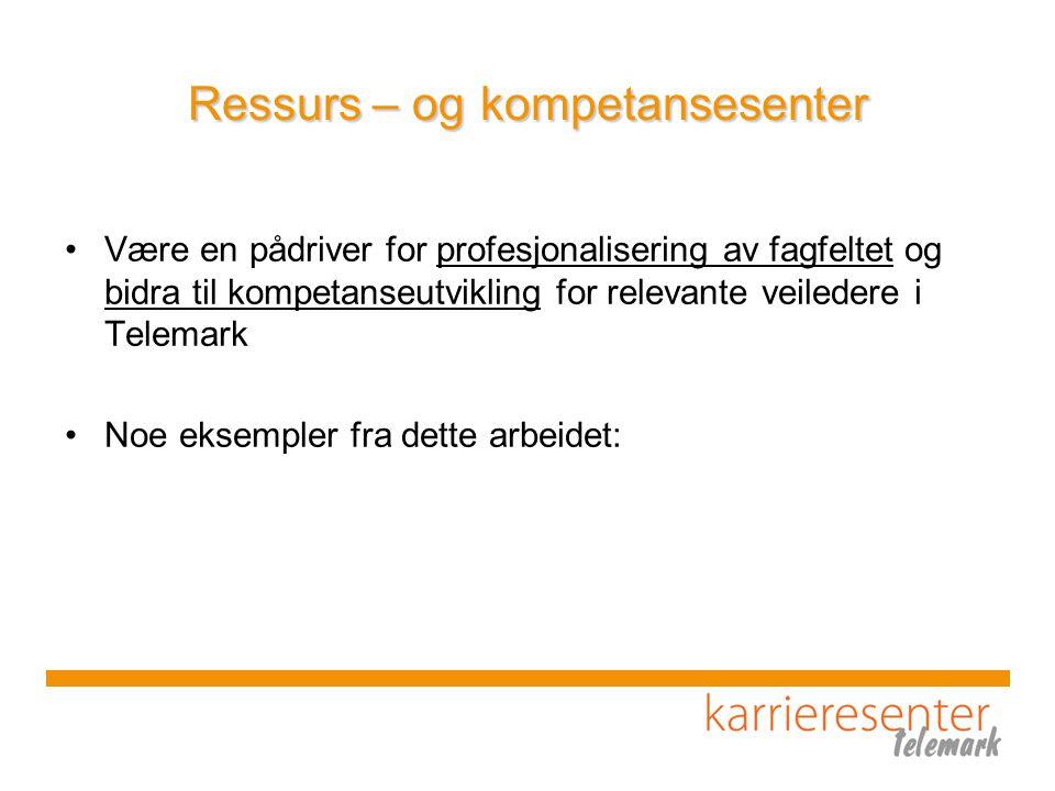 Ressurs – og kompetansesenter Være en pådriver for profesjonalisering av fagfeltet og bidra til kompetanseutvikling for relevante veiledere i Telemark Noe eksempler fra dette arbeidet: