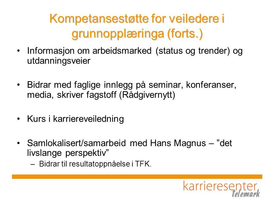 Kompetansestøtte for veiledere i grunnopplæringa (forts.) Informasjon om arbeidsmarked (status og trender) og utdanningsveier Bidrar med faglige innlegg på seminar, konferanser, media, skriver fagstoff (Rådgivernytt) Kurs i karriereveiledning Samlokalisert/samarbeid med Hans Magnus – det livslange perspektiv –Bidrar til resultatoppnåelse i TFK.