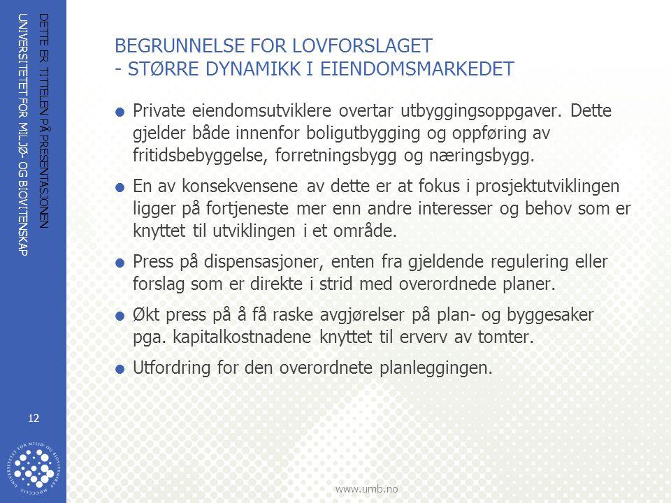 UNIVERSITETET FOR MILJØ- OG BIOVITENSKAP www.umb.no DETTE ER TITTELEN PÅ PRESENTASJONEN 12 BEGRUNNELSE FOR LOVFORSLAGET - STØRRE DYNAMIKK I EIENDOMSMARKEDET  Private eiendomsutviklere overtar utbyggingsoppgaver.