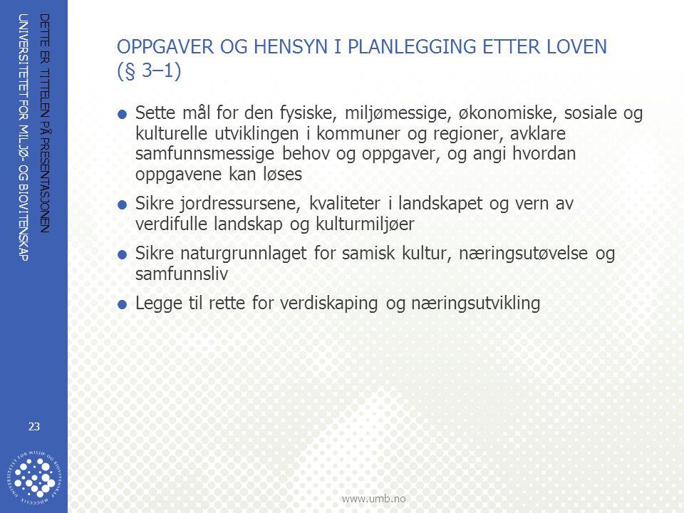 UNIVERSITETET FOR MILJØ- OG BIOVITENSKAP www.umb.no DETTE ER TITTELEN PÅ PRESENTASJONEN 23 OPPGAVER OG HENSYN I PLANLEGGING ETTER LOVEN (§ 3–1)  Sett