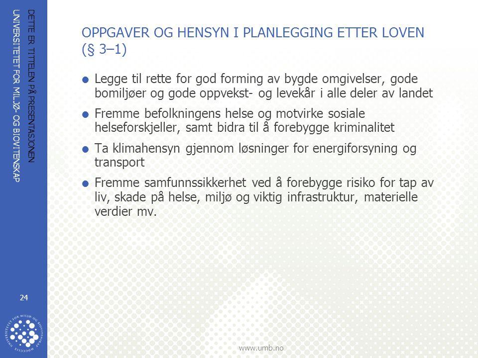 UNIVERSITETET FOR MILJØ- OG BIOVITENSKAP www.umb.no DETTE ER TITTELEN PÅ PRESENTASJONEN 24 OPPGAVER OG HENSYN I PLANLEGGING ETTER LOVEN (§ 3–1)  Legg