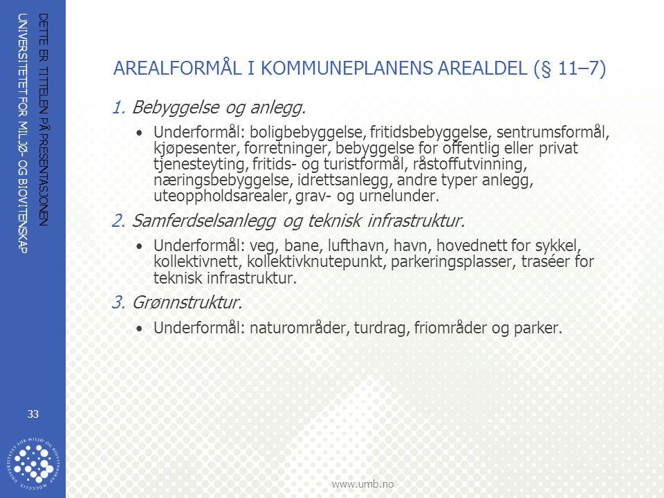 UNIVERSITETET FOR MILJØ- OG BIOVITENSKAP www.umb.no DETTE ER TITTELEN PÅ PRESENTASJONEN 33 AREALFORMÅL I KOMMUNEPLANENS AREALDEL (§ 11–7) 1.Bebyggelse og anlegg.
