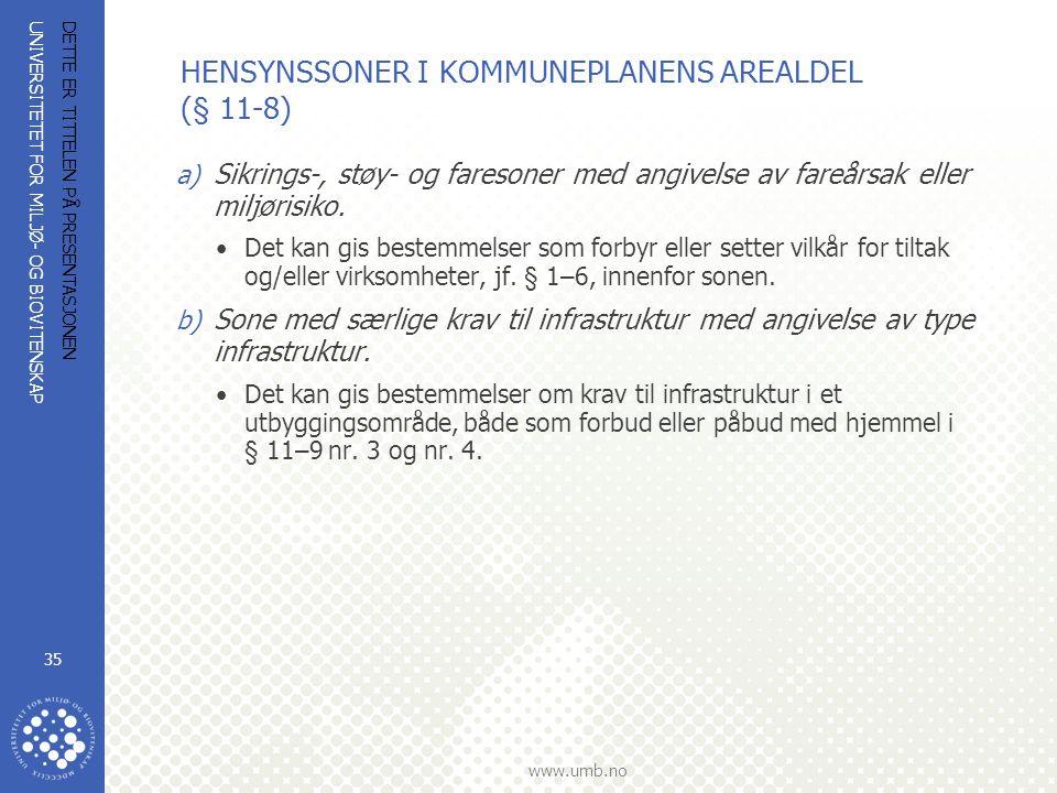 UNIVERSITETET FOR MILJØ- OG BIOVITENSKAP www.umb.no DETTE ER TITTELEN PÅ PRESENTASJONEN 35 HENSYNSSONER I KOMMUNEPLANENS AREALDEL (§ 11-8) a) Sikrings