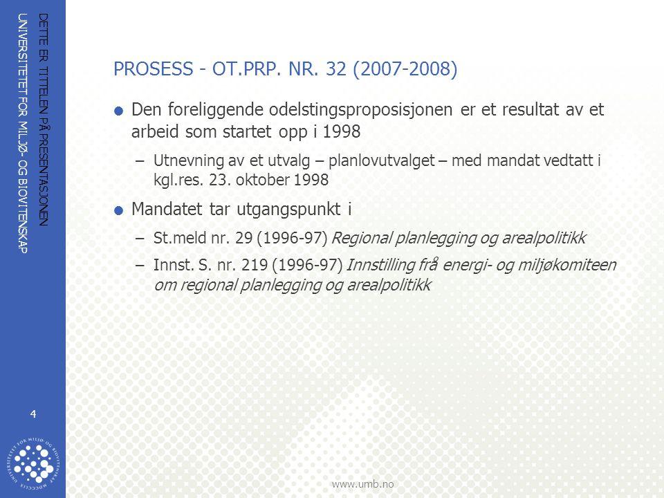 UNIVERSITETET FOR MILJØ- OG BIOVITENSKAP www.umb.no DETTE ER TITTELEN PÅ PRESENTASJONEN 4 PROSESS - OT.PRP. NR. 32 (2007-2008)  Den foreliggende odel