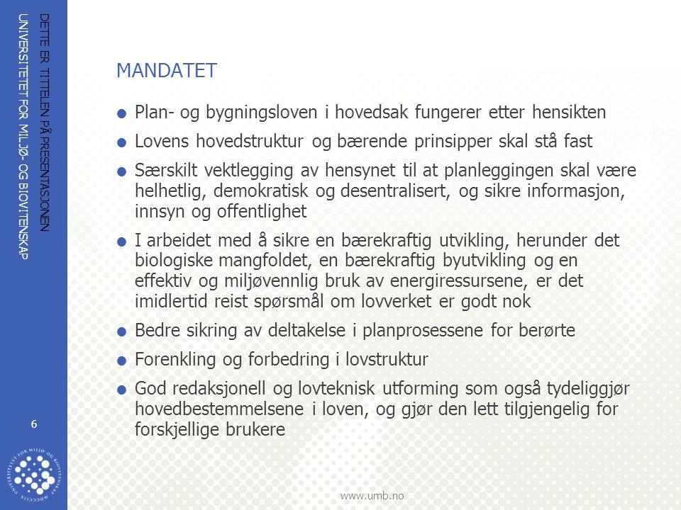 UNIVERSITETET FOR MILJØ- OG BIOVITENSKAP www.umb.no DETTE ER TITTELEN PÅ PRESENTASJONEN 6 MANDATET  Plan- og bygningsloven i hovedsak fungerer etter