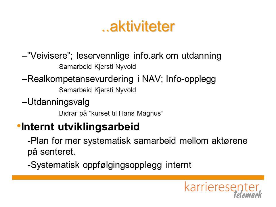 """..aktiviteter –""""Veivisere""""; leservennlige info.ark om utdanning Samarbeid Kjersti Nyvold –Realkompetansevurdering i NAV; Info-opplegg Samarbeid Kjerst"""