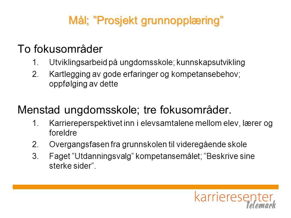 """Mål; """"Prosjekt grunnopplæring"""" To fokusområder 1.Utviklingsarbeid på ungdomsskole; kunnskapsutvikling 2.Kartlegging av gode erfaringer og kompetansebe"""