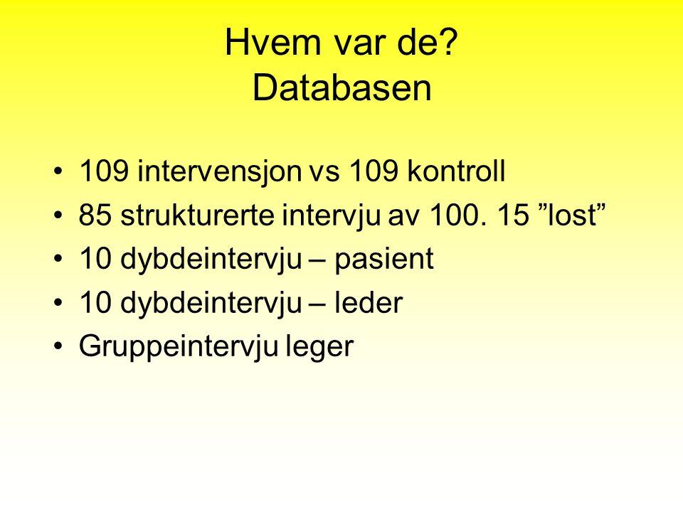 """Hvem var de? Databasen 109 intervensjon vs 109 kontroll 85 strukturerte intervju av 100. 15 """"lost"""" 10 dybdeintervju – pasient 10 dybdeintervju – leder"""