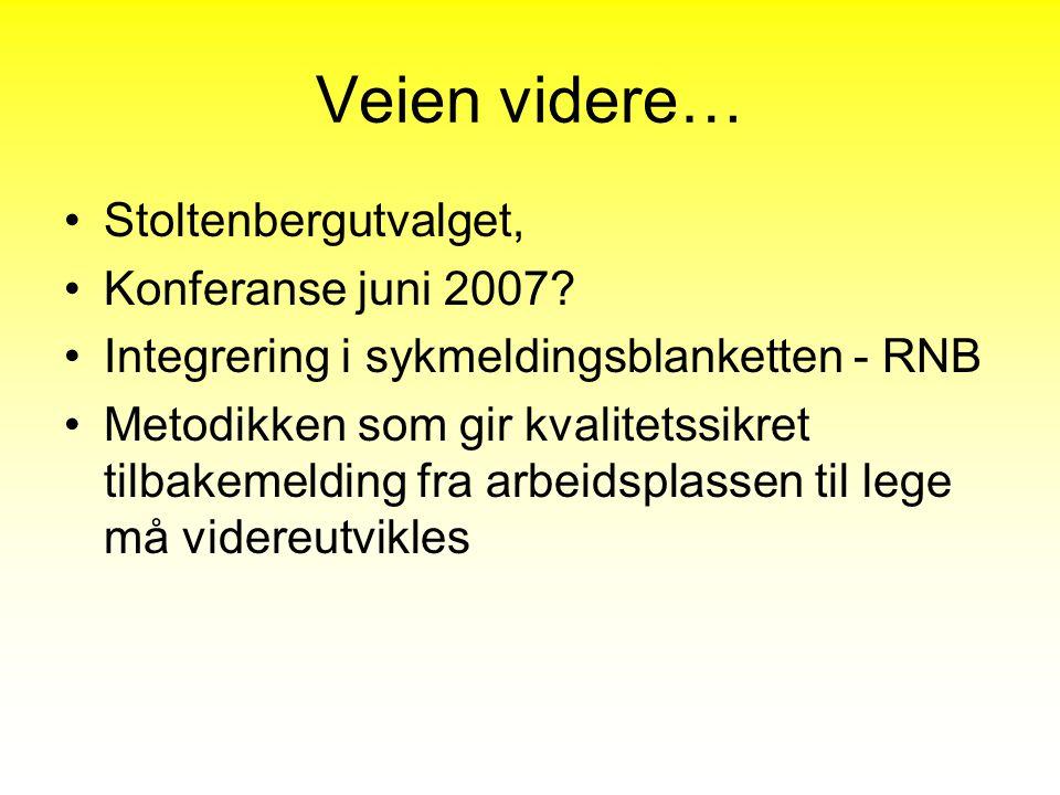 Veien videre… Stoltenbergutvalget, Konferanse juni 2007? Integrering i sykmeldingsblanketten - RNB Metodikken som gir kvalitetssikret tilbakemelding f