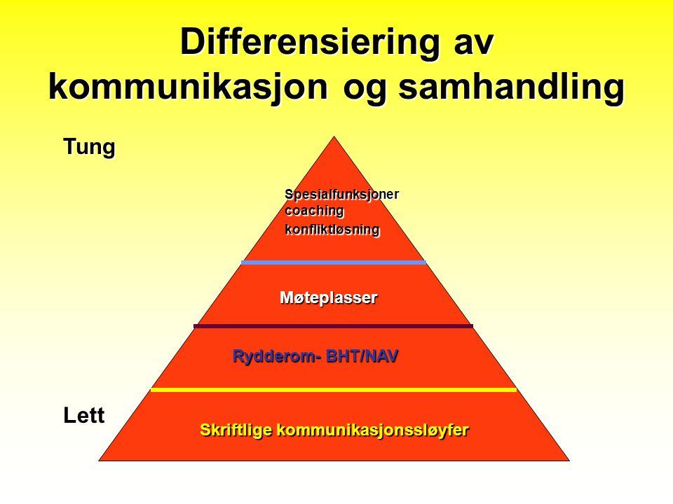 Differensiering av kommunikasjon og samhandling Tung Lett Skriftlige kommunikasjonssløyfer Rydderom- BHT/NAV Møteplasser Spesialfunksjoner coaching ko