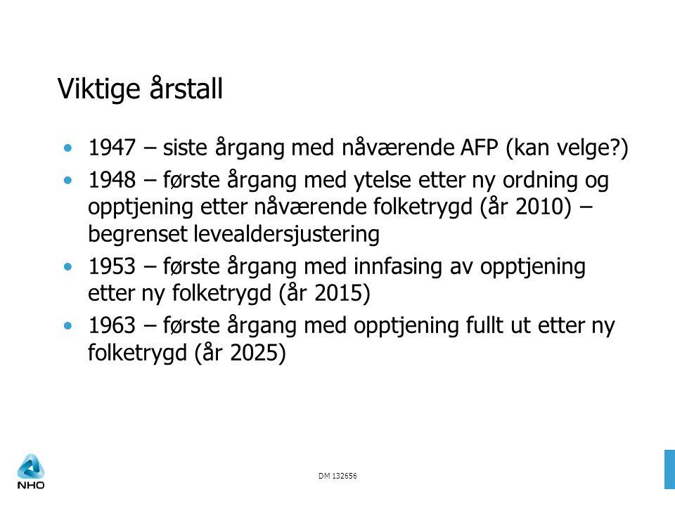 DM 132656 Viktige årstall 1947 – siste årgang med nåværende AFP (kan velge?) 1948 – første årgang med ytelse etter ny ordning og opptjening etter nåvæ