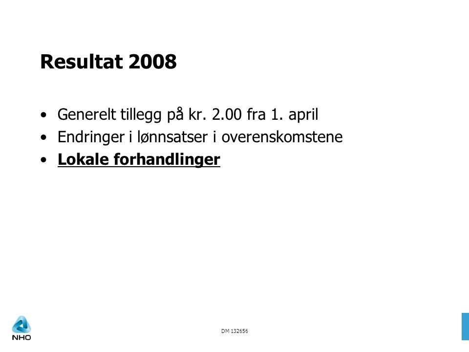 DM 132656 Resultat 2008 Generelt tillegg på kr. 2.00 fra 1. april Endringer i lønnsatser i overenskomstene Lokale forhandlinger