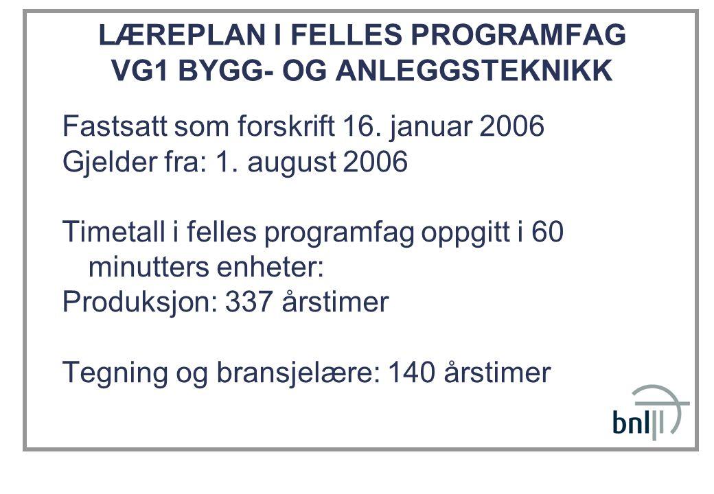 LÆREPLAN I FELLES PROGRAMFAG VG1 BYGG- OG ANLEGGSTEKNIKK Fastsatt som forskrift 16. januar 2006 Gjelder fra: 1. august 2006 Timetall i felles programf