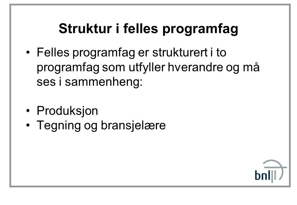 Struktur i felles programfag Felles programfag er strukturert i to programfag som utfyller hverandre og må ses i sammenheng: Produksjon Tegning og bra