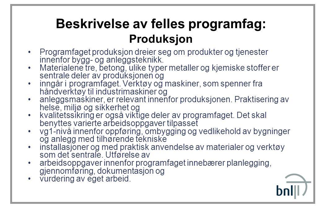 Beskrivelse av felles programfag: Produksjon Programfaget produksjon dreier seg om produkter og tjenester innenfor bygg- og anleggsteknikk. Materialen