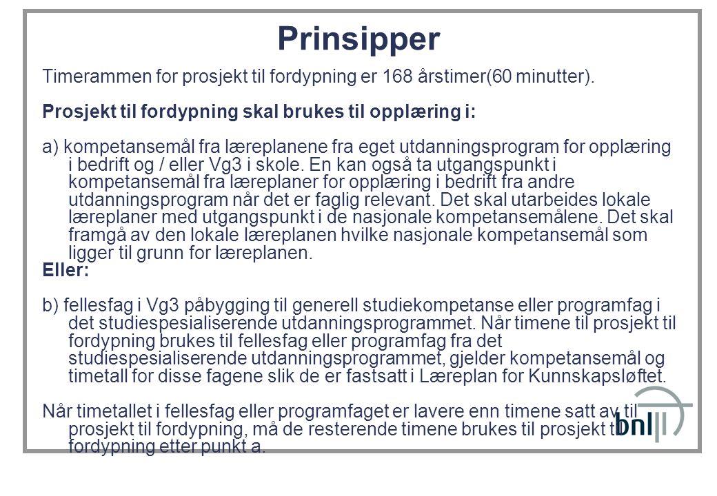 Prinsipper Timerammen for prosjekt til fordypning er 168 årstimer(60 minutter). Prosjekt til fordypning skal brukes til opplæring i: a) kompetansemål