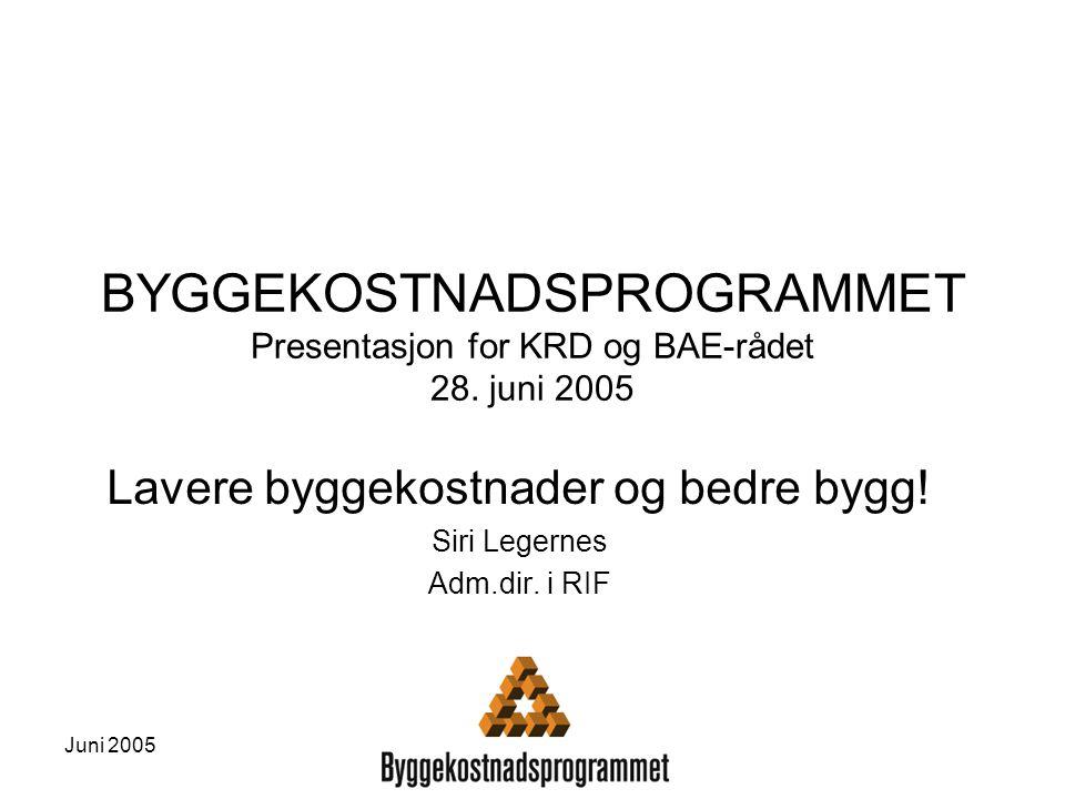 Juni 2005 BYGGEKOSTNADSPROGRAMMET Presentasjon for KRD og BAE-rådet 28. juni 2005 Lavere byggekostnader og bedre bygg! Siri Legernes Adm.dir. i RIF