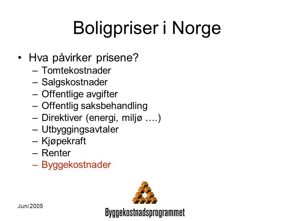 Juni 2005 Boligpriser i Norge Hva påvirker prisene? –Tomtekostnader –Salgskostnader –Offentlige avgifter –Offentlig saksbehandling –Direktiver (energi