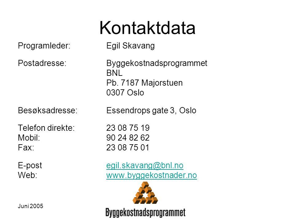Juni 2005 Kontaktdata Programleder:Egil Skavang Postadresse:Byggekostnadsprogrammet BNL Pb. 7187 Majorstuen 0307 Oslo Besøksadresse: Essendrops gate 3