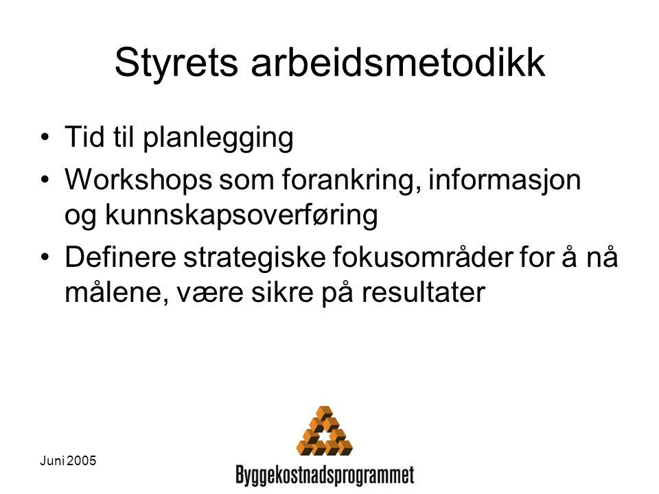Juni 2005 Styrets arbeidsmetodikk Tid til planlegging Workshops som forankring, informasjon og kunnskapsoverføring Definere strategiske fokusområder f