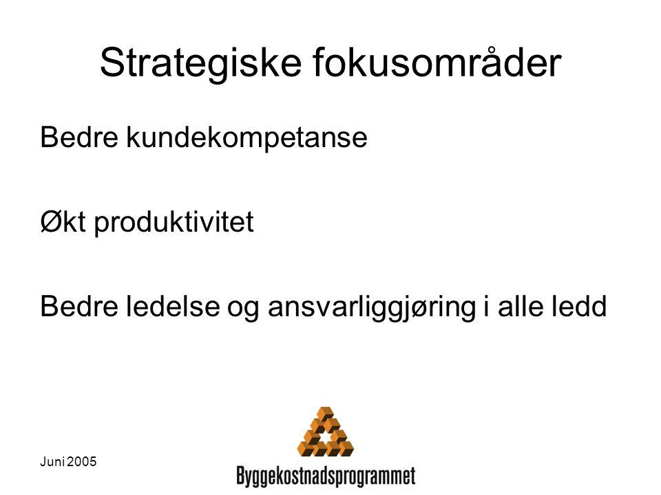 Juni 2005 Strategiske fokusområder Bedre kundekompetanse Økt produktivitet Bedre ledelse og ansvarliggjøring i alle ledd