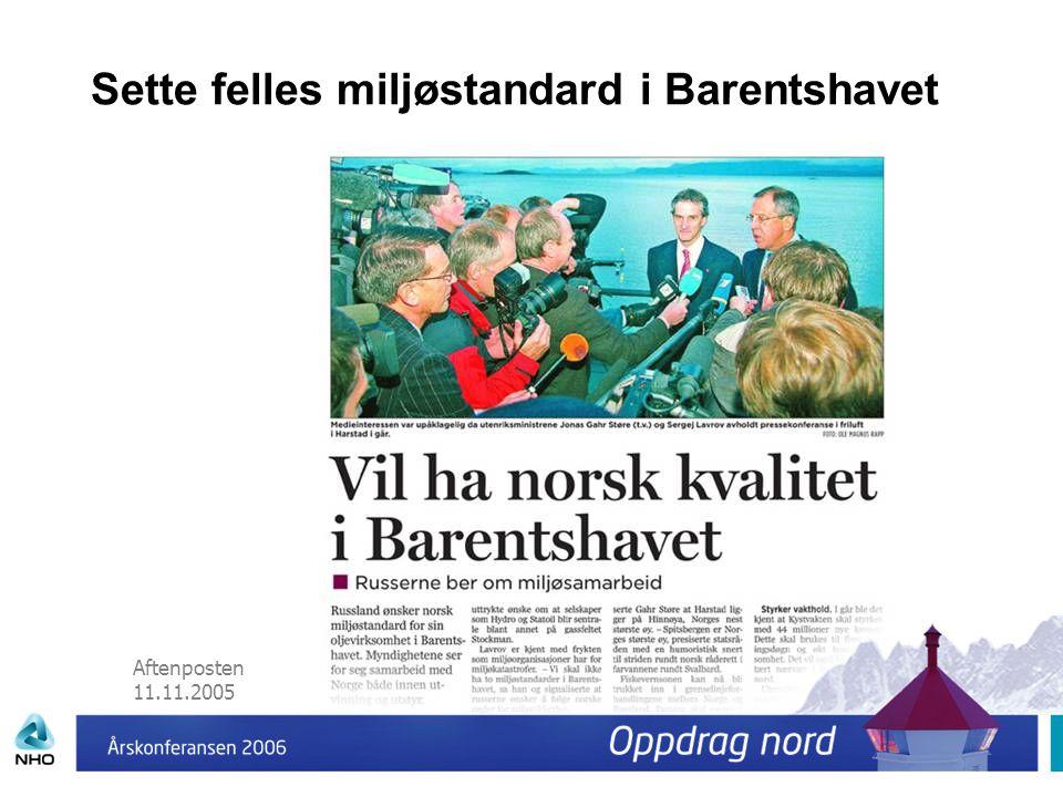 Aftenposten 11.11.2005 Sette felles miljøstandard i Barentshavet