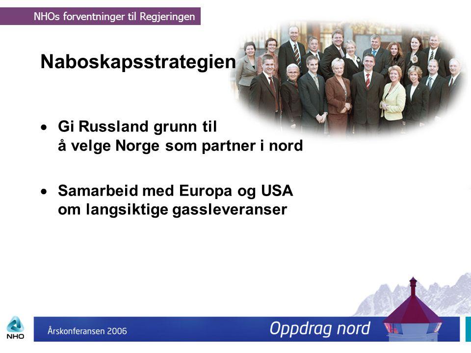 Naboskapsstrategien  Gi Russland grunn til å velge Norge som partner i nord  Samarbeid med Europa og USA om langsiktige gassleveranser NHOs forventn