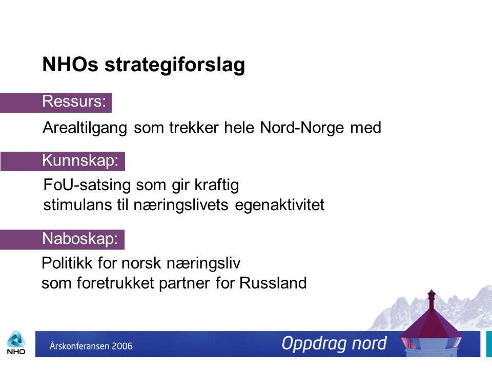 NHOs strategiforslag Ressurs: Arealtilgang som trekker hele Nord-Norge med Kunnskap: FoU-satsing som gir kraftig stimulans til næringslivets egenaktiv