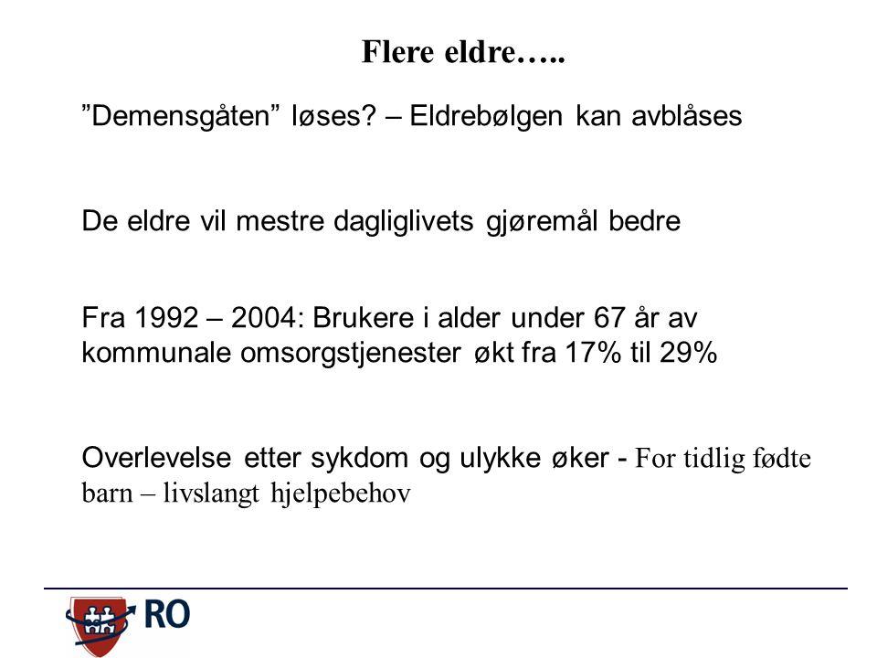 """Flere eldre….. """"Demensgåten"""" løses? – Eldrebølgen kan avblåses De eldre vil mestre dagliglivets gjøremål bedre Fra 1992 – 2004: Brukere i alder under"""