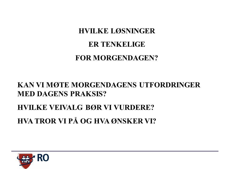 HVILKE LØSNINGER ER TENKELIGE FOR MORGENDAGEN.