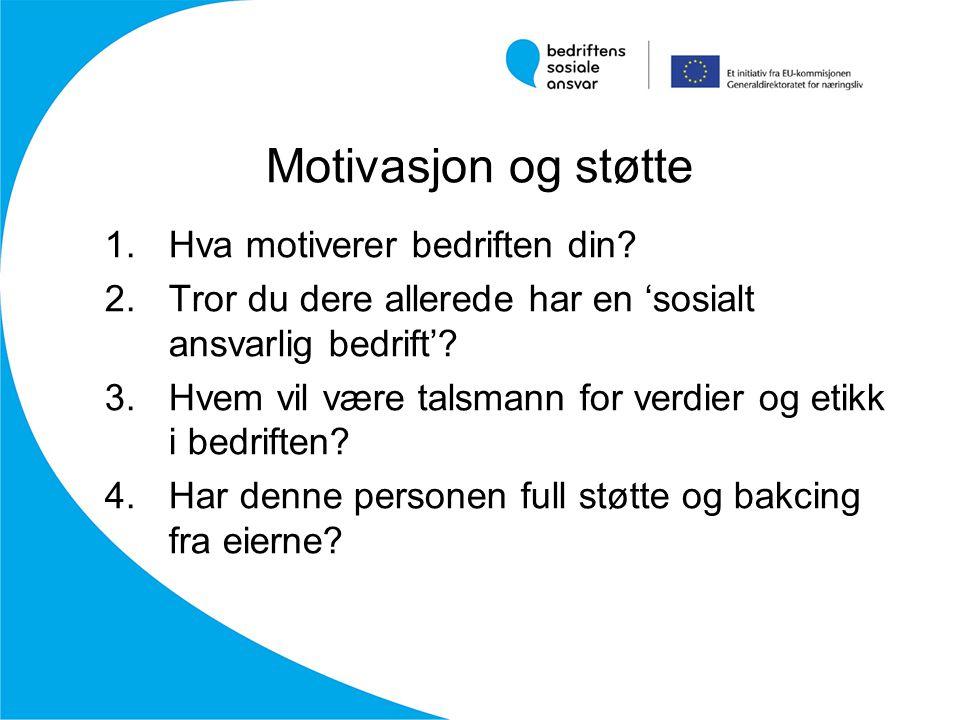 Motivasjon og støtte 1.Hva motiverer bedriften din? 2.Tror du dere allerede har en 'sosialt ansvarlig bedrift'? 3.Hvem vil være talsmann for verdier o